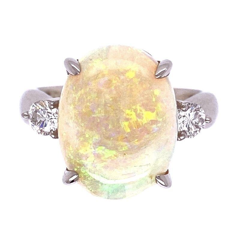 Platinum 6.34ct White Australian Opal & .34tcw diamond Ring, s7
