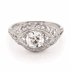 Closeup photo of Platinum Art Deco .79ct OEC Ring with .36tcw side diamonds, c1930's, s6.5