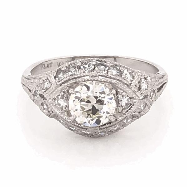 Closeup photo of Platinum Art Deco .79ct OEC Ring with .36tcw side diamonds, c1930's, s6.5