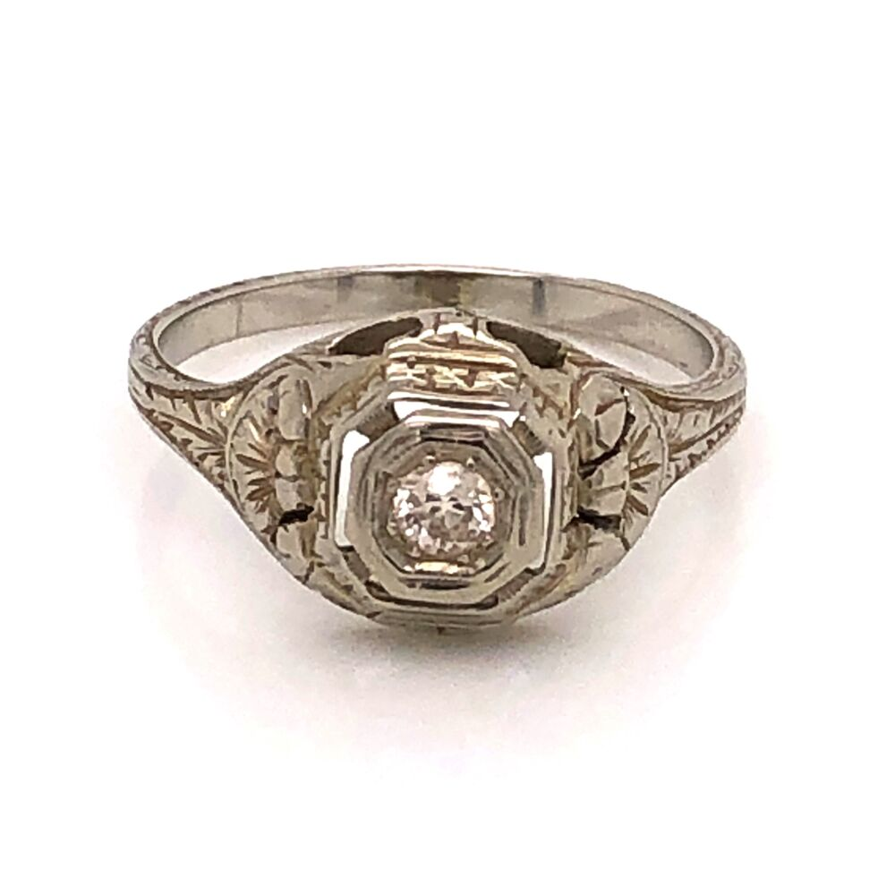 Image 2 for 18K WG Art Deco Ring .10ct OEC Diamond, engraving 2.6g, s5