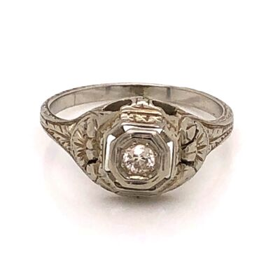 Closeup photo of 18K WG Art Deco Ring .10ct OEC Diamond, engraving 2.6g, s5