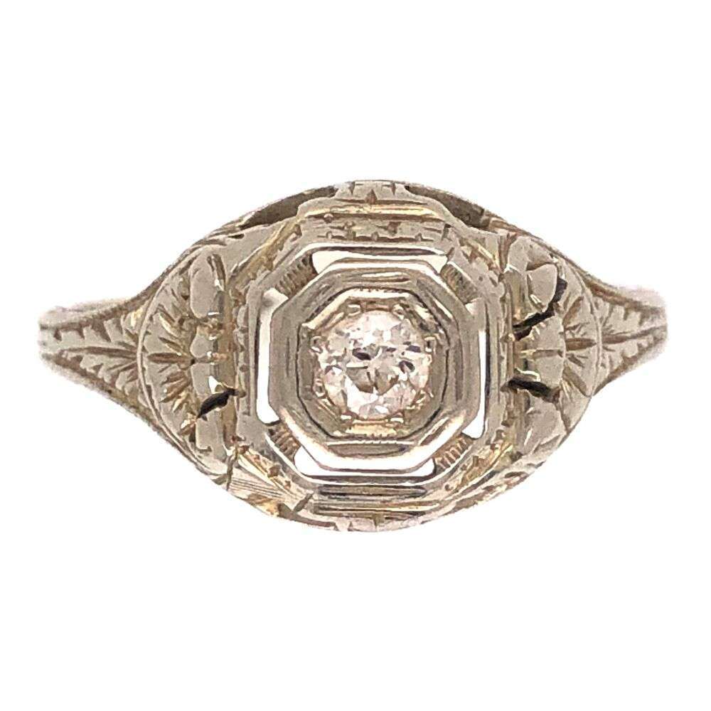 18K WG Art Deco Ring .10ct OEC Diamond, engraving 2.6g, s5