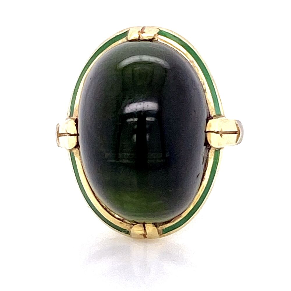 Image 2 for 14K Yellow Gold Arts & Crafts Cat's Eye Tourmaline Ring with Engraving & Green Enamel