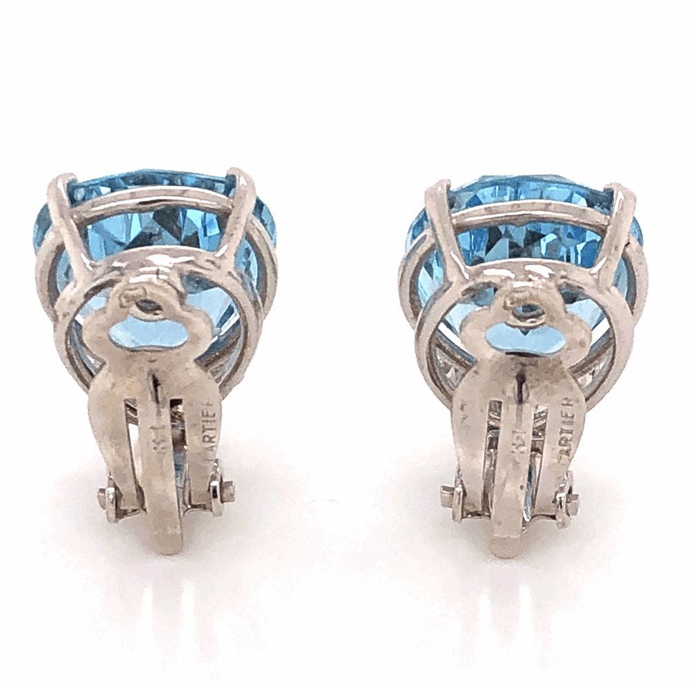 Image 2 for Platinum 14tcw Pear Shape Aquamarine Earrings .75tcw Collection diamonds, 14K WG Clip Backs