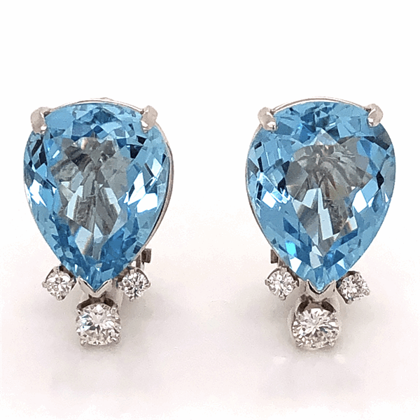 Closeup photo of Platinum Pear Shape Aquamarine Earrings with Diamonds