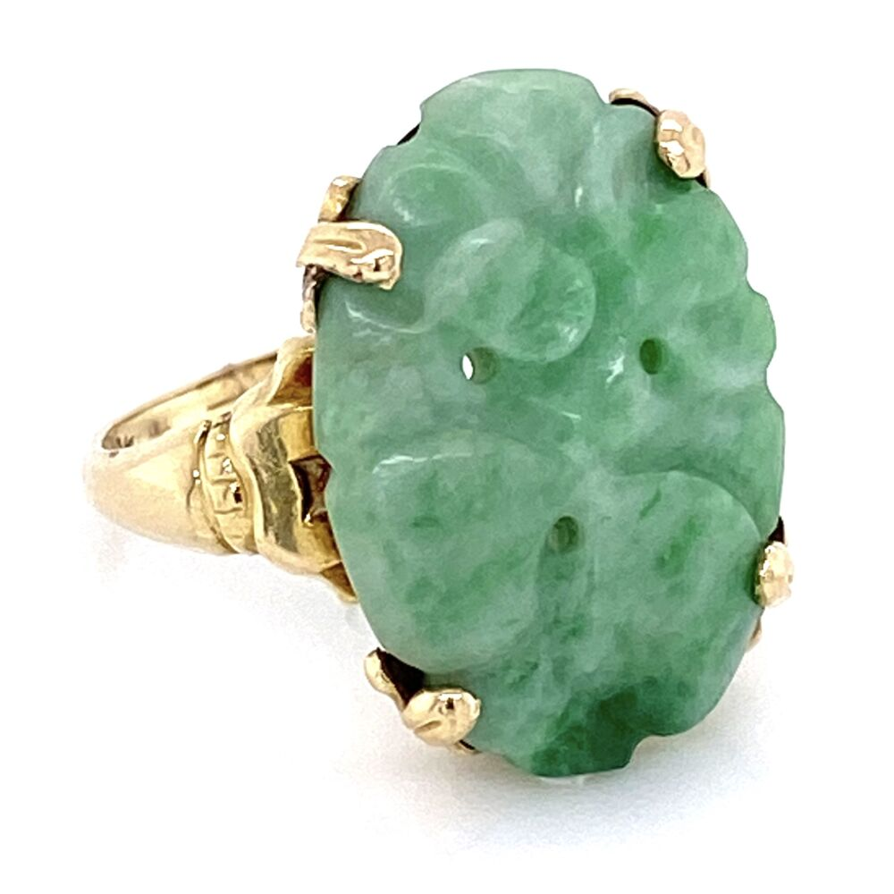 Image 2 for 10K Yellow Gold Carved Jade Ring 2.75g