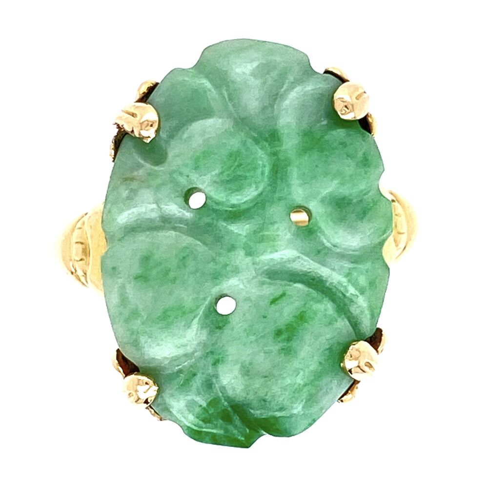 10K Yellow Gold Carved Jade Ring 2.75g