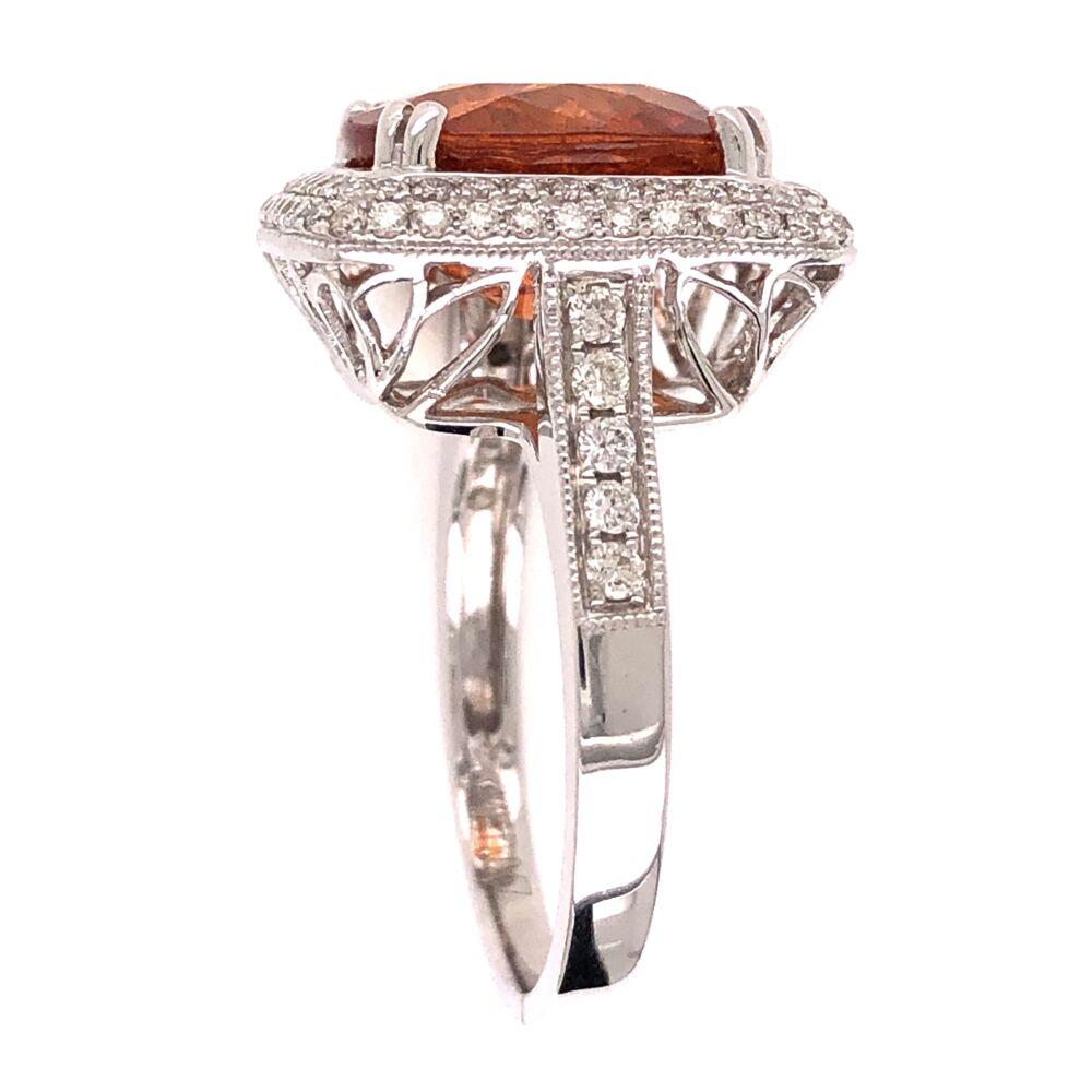 Image 2 for 14K White Gold 7ct Spessartite Mandarin Orange Garnet Ring with .57tcw Diamonds