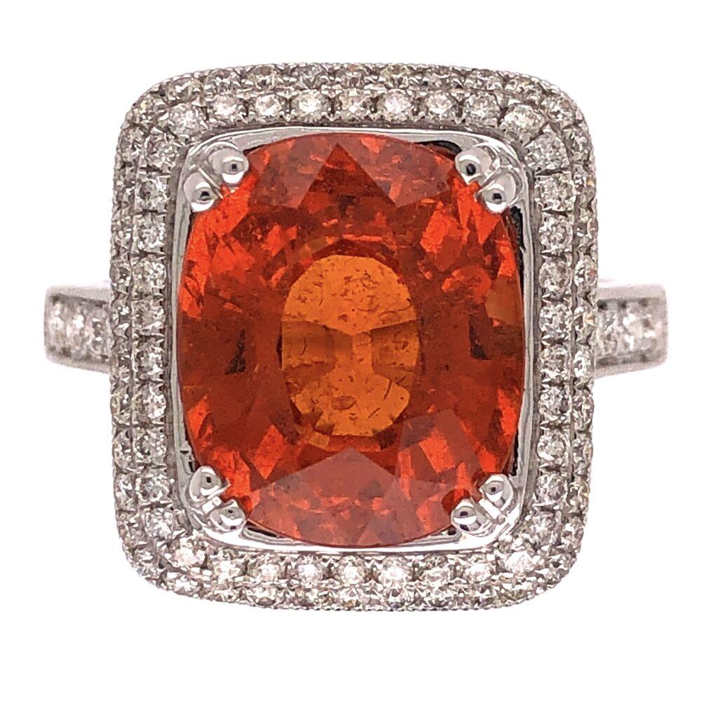 14K White Gold 7ct Spessartite Mandarin Orange Garnet Ring with .57tcw Diamonds