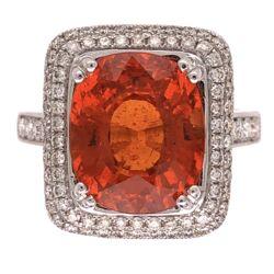 Closeup photo of 14K White Gold 7ct Spessartite Mandarin Orange Garnet Ring with .57tcw Diamonds