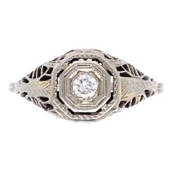 Closeup photo of 14K WG Art Deco Filigree Ring .10ct Diamond, 2.2g, s7
