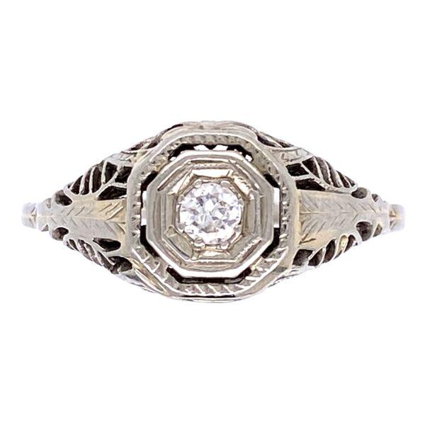 Closeup photo of 14K WG Art Deco Filigree Ring .10ct Diamond, 2.2g, s7