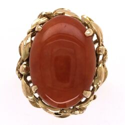 Closeup photo of 14K Yellow Gold 10ct Orange Jade Ring Circa 1960's, s6.5