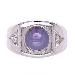 Closeup photo of 14K White Gold 5ct Blue Star Sapphire & .16tw diamonds Ring c1940, size 6