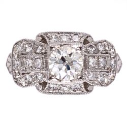 Closeup photo of Platinum Art Deco Ring .65ct OEC VS Ring with .44tcw side diamonds s7