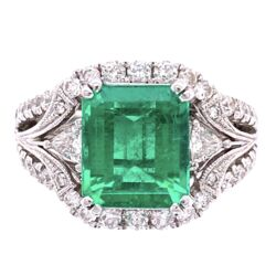 Closeup photo of 18K White Gold 2.75ct Emerald Cut Emerald, 1.20tw Diamonds, signed J.D c1980's, s5.5