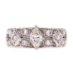 Closeup photo of Platinum Diamond Art Deco Band Ring .40ct and .90tcw diamonds, s5.5