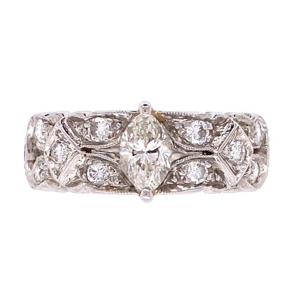 Closeup photo of Platinum Diamond Art Deco Band Ring .40ct and .90tcw diamonds, s5.5