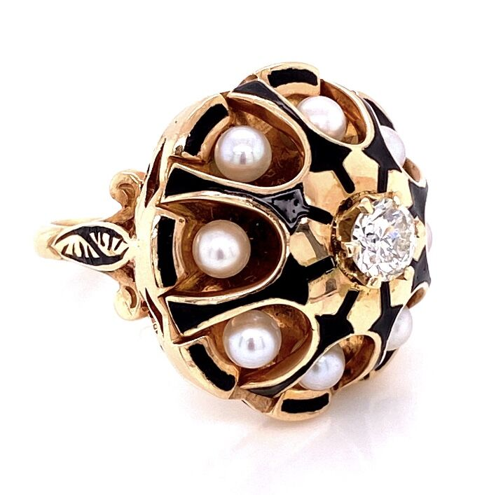 Image 2 for 14K Yellow Gold 1940's Pearl & .43tcw Diamonds Ring