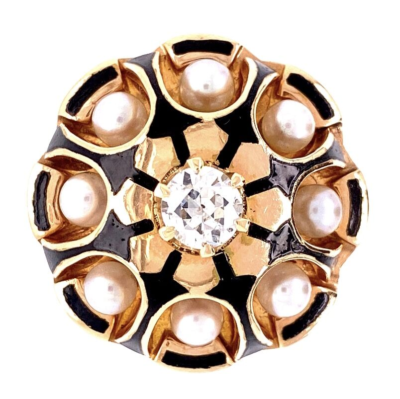 14K Yellow Gold 1940's Pearl & .43tcw Diamonds Ring