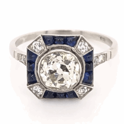 Closeup photo of Platinum Art Deco Ring 1.68ct OEC, .62tcw Buff Top Sapphires, s7.5