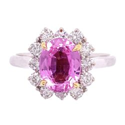 Closeup photo of 18K 2tone 2.32ct Oval Pink Sapphire & .61tcw Ring c1960's, 6.75