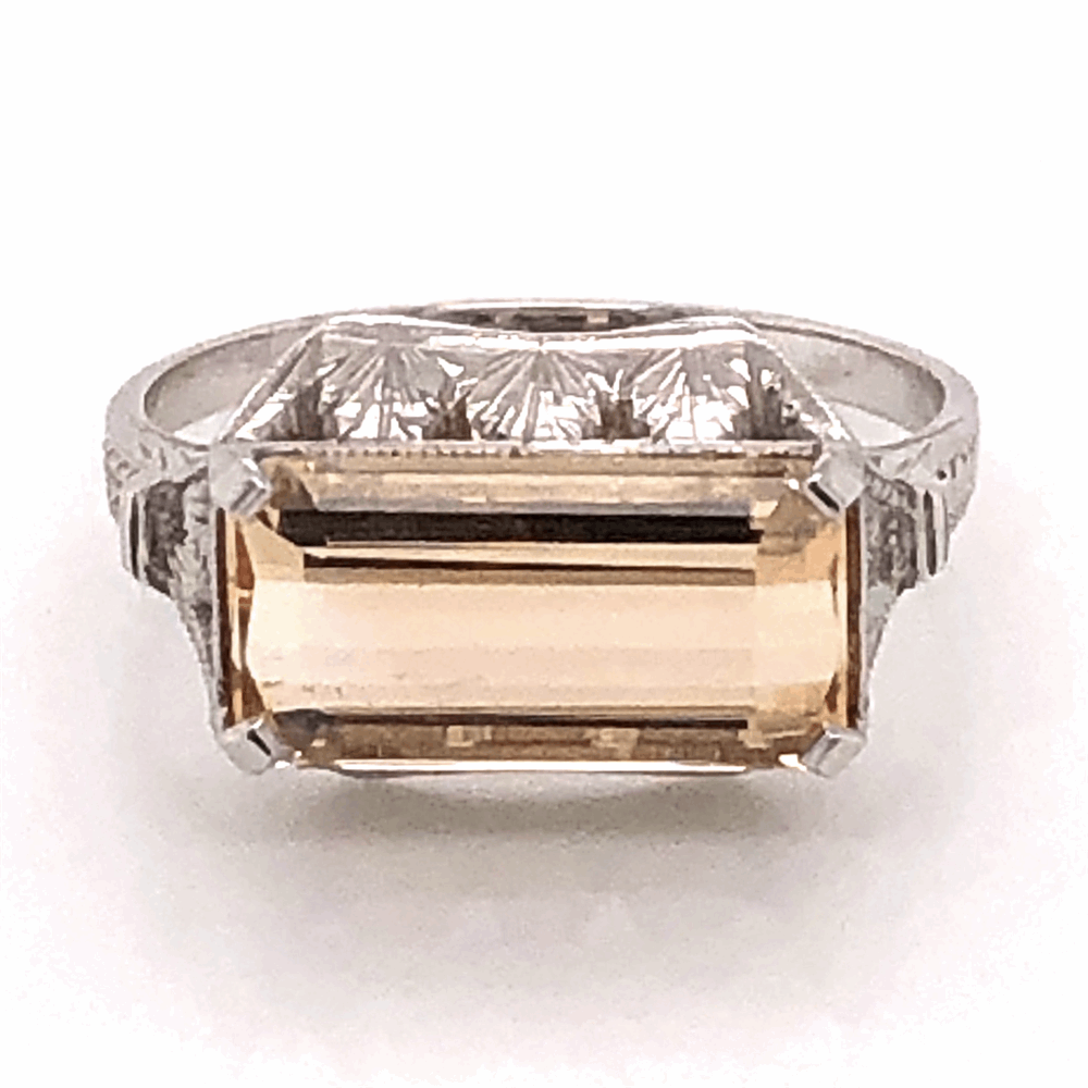 18K White Gold East-West 3.10ct Imperial Topaz Art Deco Ring, c1930's, s6.6