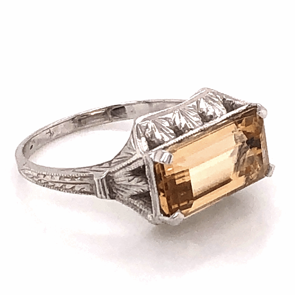 Image 2 for 18K White Gold East-West 3.10ct Imperial Topaz Art Deco Ring, c1930's, s6.6