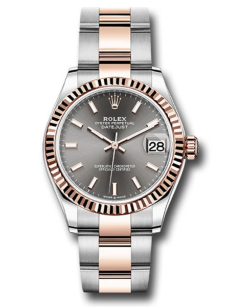 Closeup photo of Rolex Mid-Size 31mm stainless steel case, 18K pink gold fluted bezel, and stainless steel and 18K pink gold Oyster bracelet.
