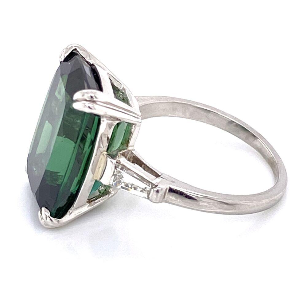 Image 2 for Platinum Rectangular Cut Green Tourmaline Ring