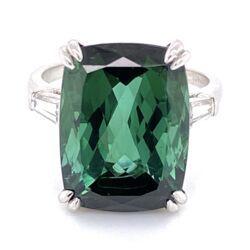 Closeup photo of Platinum Rectangular Cut Green Tourmaline Ring