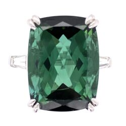 Closeup photo of Platinum 12.26 Rectangular Cut Green Tourmaline Ring 2 baguette Diamonds .30tcw, 7.9g