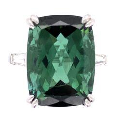 Closeup photo of Platinum 12.26 Rectangular Cut Green Tourmaline Ring 2 baguette Diamonds .30tcw, 7.9g