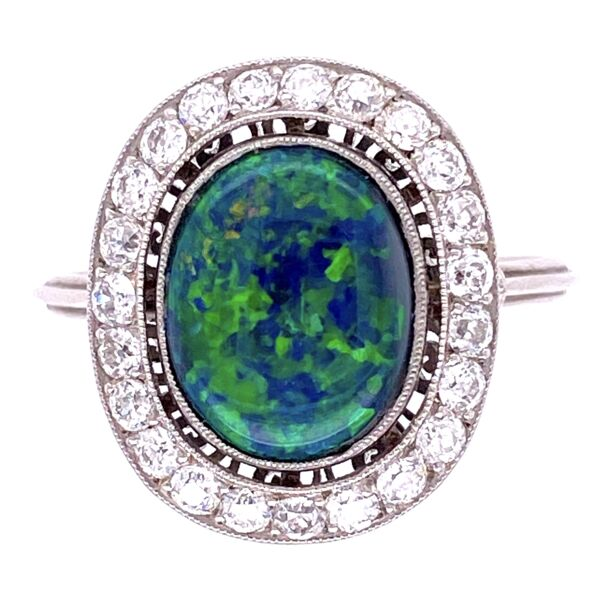 Closeup photo of Platinum Art Deco 3ct Australian Black Opal Ring .60tcw diamonds, s7