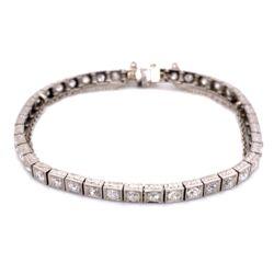 "Closeup photo of Platinum Art Deco Engraved Line Bracelet 4.25tcw OEC diamonds, 7"""