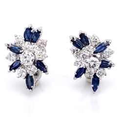 Closeup photo of 14K White Gold Cluster Earrings 2.16tcw diamonds & 1.80tcw sapphires Omega backs, c1950's