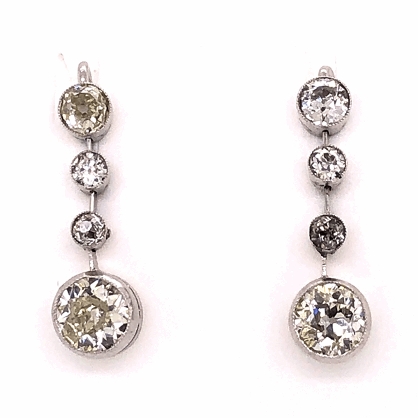 "Closeup photo of Platinum Art Deco Diamond Drop Earrings 2.50tcw .75"" tall, c1920's"