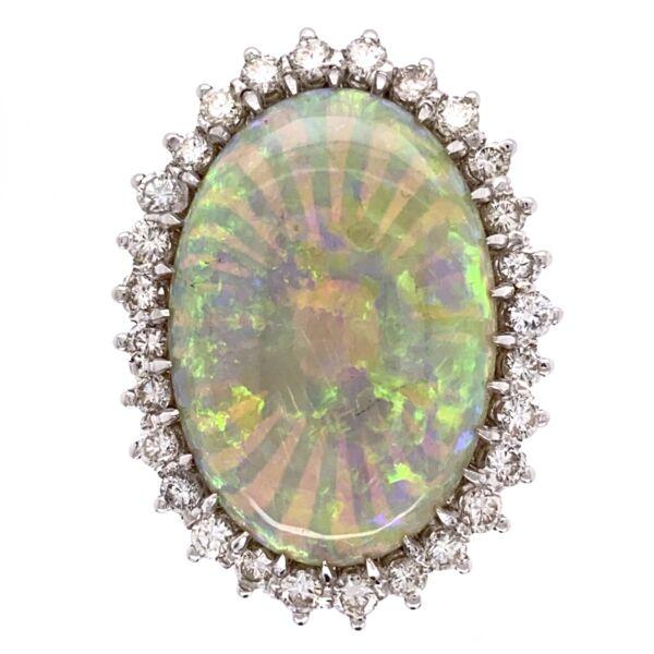 Closeup photo of 18K White Gold 18ct White Opal Ring 1.50tcw diamonds, c1970's, s7