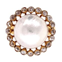 Closeup photo of 18K Yellow Gold Victorian 12.5mm Pearl Ring with 1.00tcw OEC diamonds