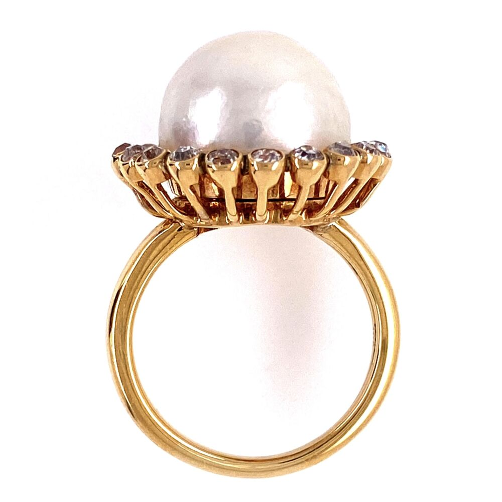 Image 2 for 18K Yellow Gold Victorian 12.5mm Pearl Ring with 1.00tcw OEC diamonds