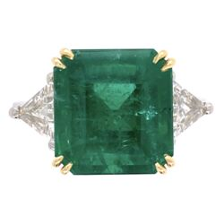 Closeup photo of Platinum/18K 6.69ct Emerald Cut Emerald Ring, GIA #21852004555, 2tril= .94tcw