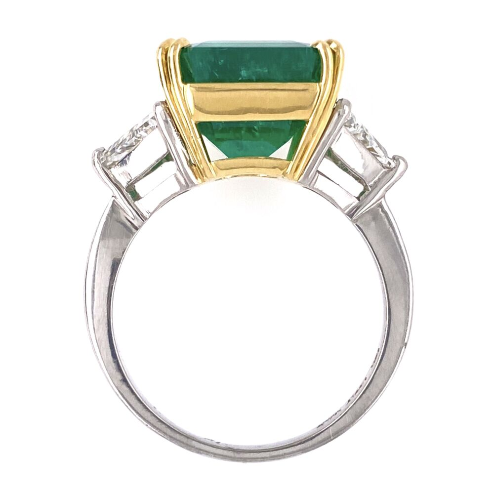 Image 2 for Platinum/18K 6.69ct Emerald Cut Emerald Ring, GIA #21852004555, 2tril= .94tcw