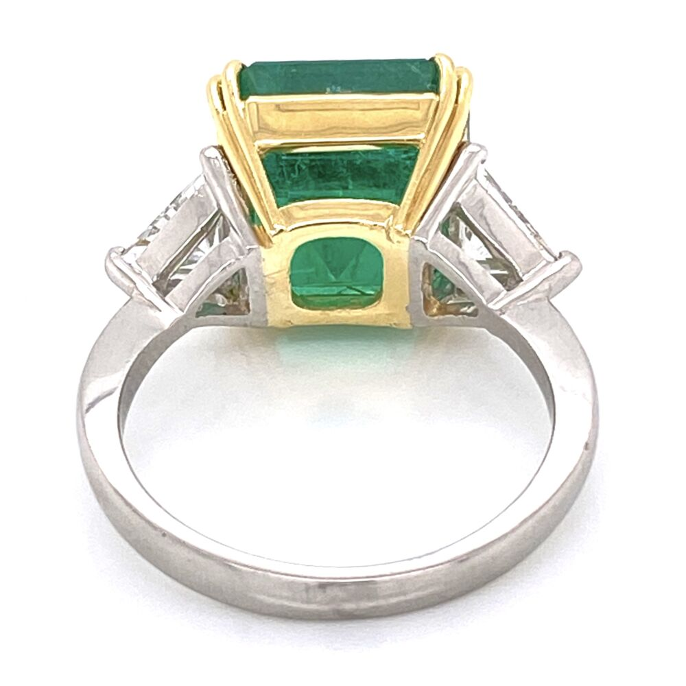 Image 4 for Platinum/18K 6.69ct Emerald Cut Emerald Ring, GIA #21852004555, 2tril= .94tcw