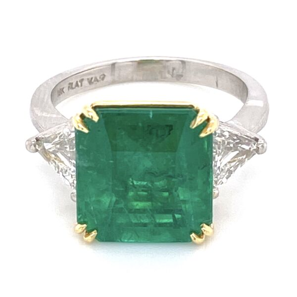 Closeup photo of Platinum/18K Emerald Cut Emerald Ring