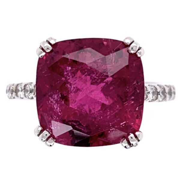 Closeup photo of 18K White Gold 6.25ct Checkerboard Rubellite Tourmaline Ring with .45tcw Diamonds
