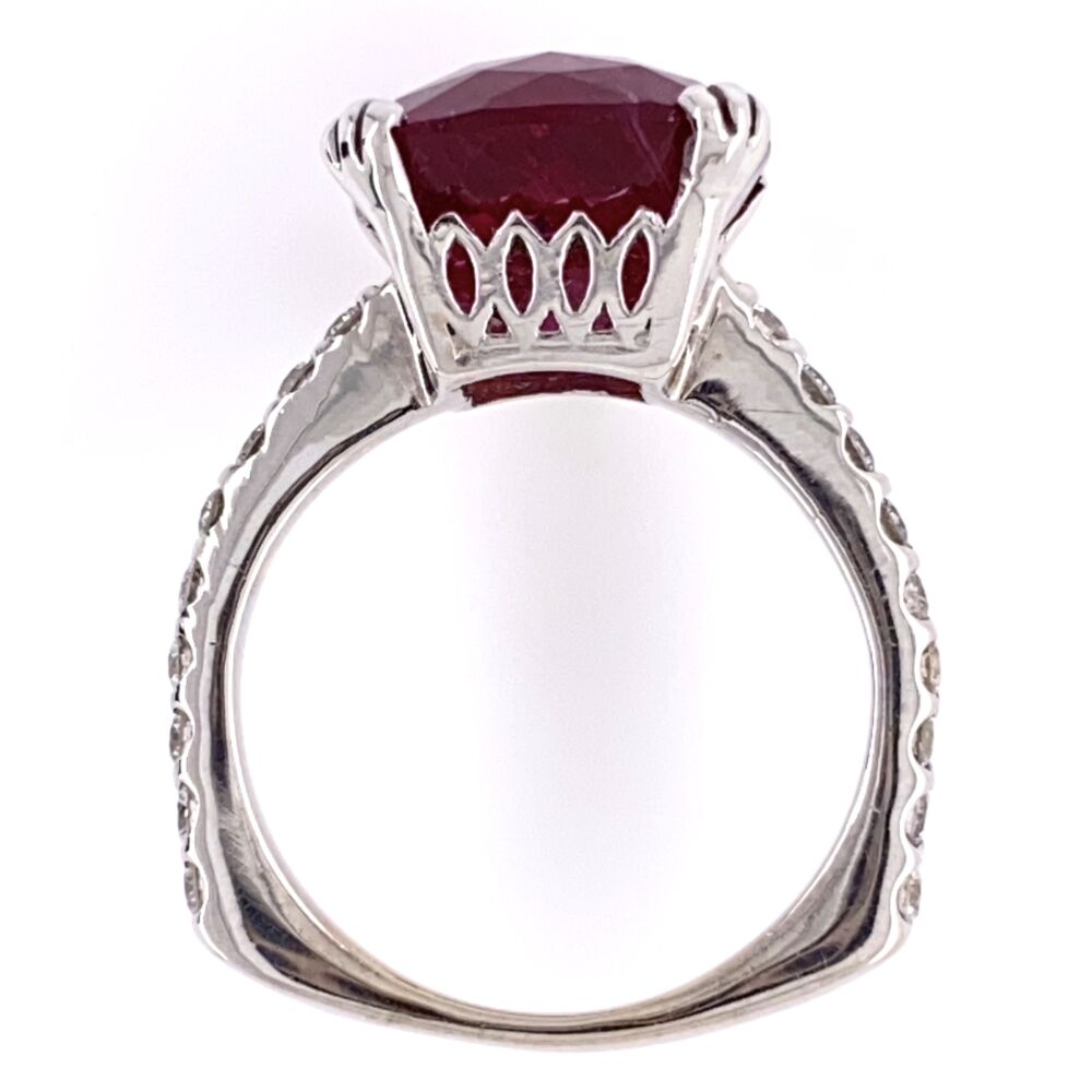 Image 2 for 18K White Gold 6.25ct Checkerboard Rubellite Tourmaline Ring with .45tcw Diamonds