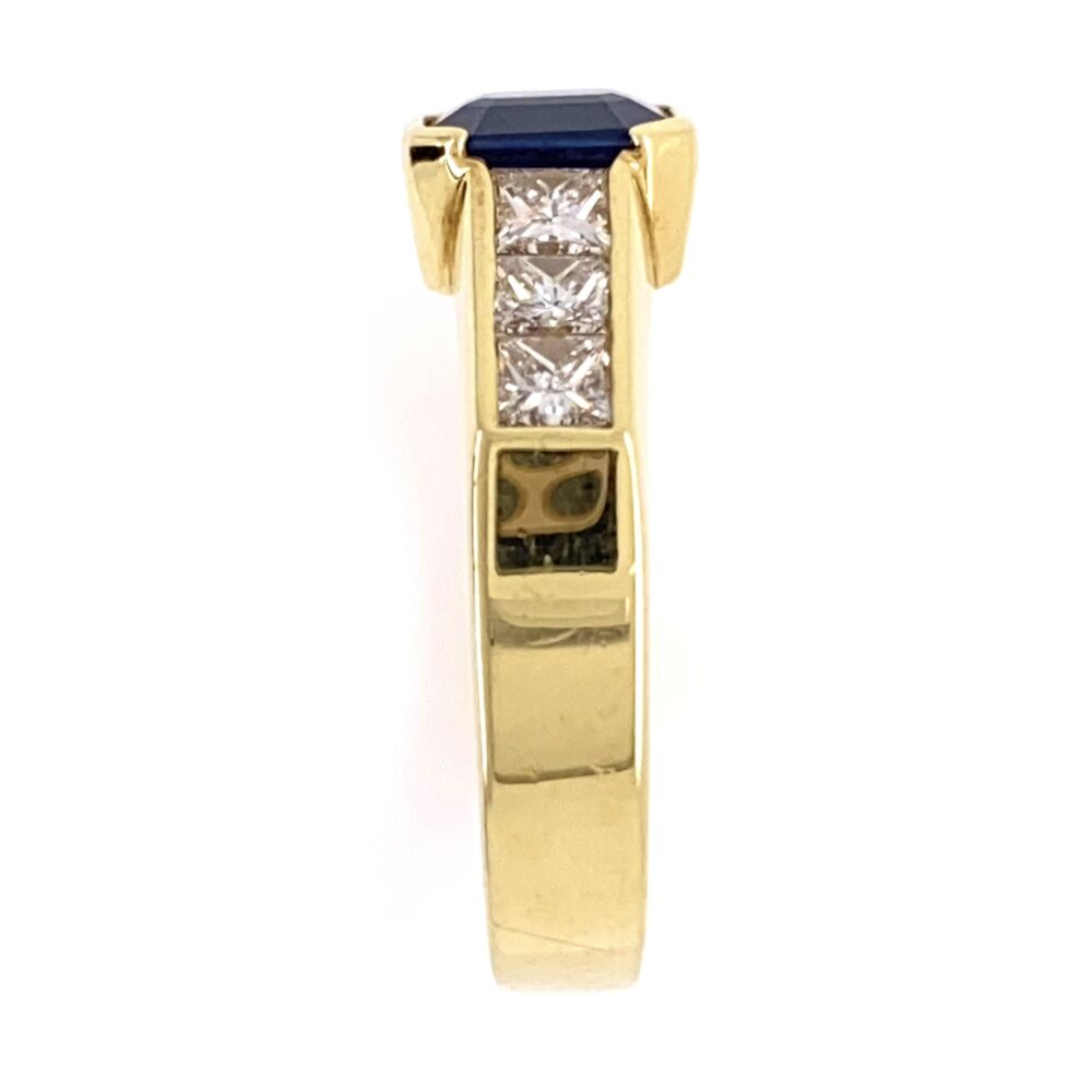 Image 2 for 18K Yellow Gold 1.10ct Sapphire & 6 Princess Cut .72tcw Diamond Ring, s6.5, 6.5g
