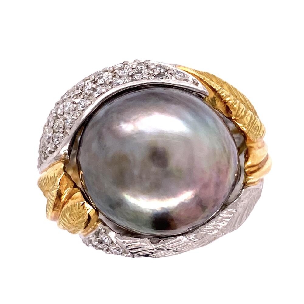Image 2 for Platinum & 18K Yellow Gold 15.90mm Tahitian Pearl Ring, .51tcw diamonds, s6
