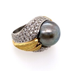 Closeup photo of Platinum & 18K Yellow Gold 15.90mm Tahitian Pearl Ring, .51tcw diamonds, s6