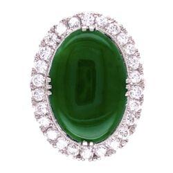 Closeup photo of Platinum Art Deco 9ct Oval Jade Ring, .80tcw diamonds, c1930's, s6